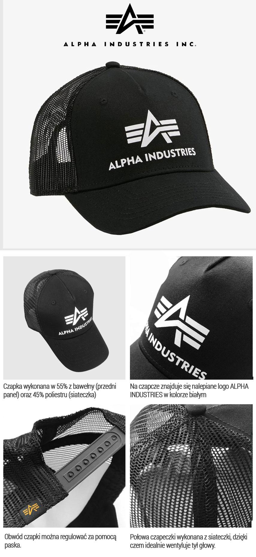 Czapka z daszkiem ALPHA INDUSTRIES Basic Trucker Cap (czarna)